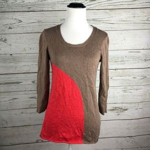 Boden Brown Red Circle Dot 3/4 Sleeve Sweater